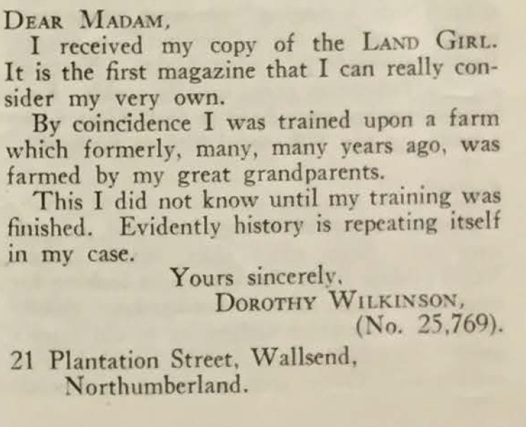 Northumberland Land Girl Dorothy Wilkinson expresses her appreciation for The Land Girl.