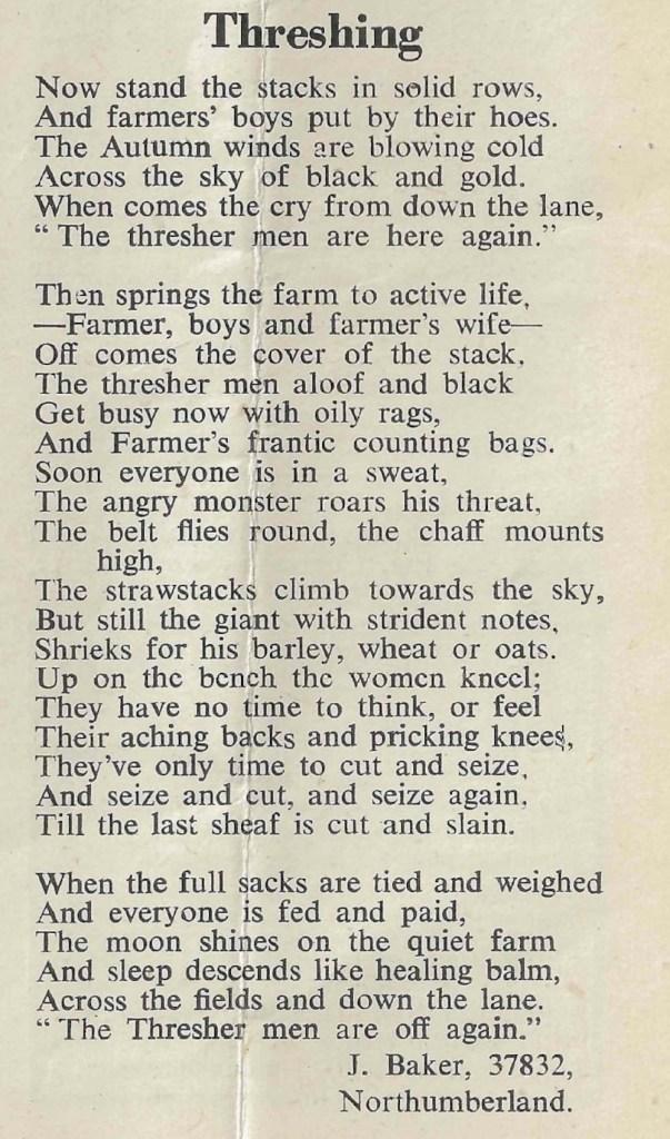 A poem on Threshing by Northumberland Land Girl J.Baker.