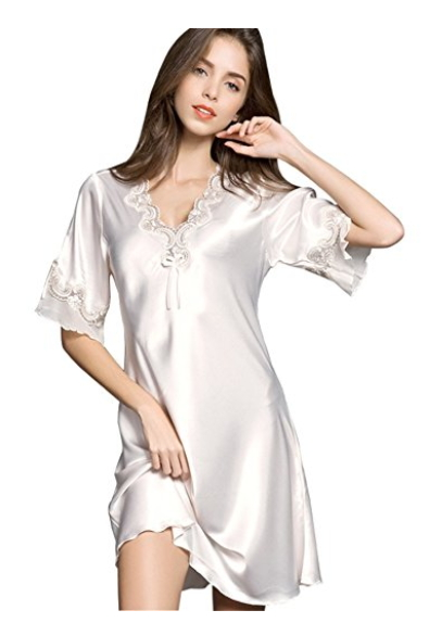 NEIWAI Womens Short Sleeve Nightgowns Soft Sleep Shirts Lace Trimmed Neck Nightshirts S-XL