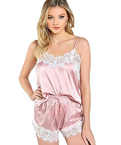 Women Silky Satin Tank Top/&Short Pajamas Strap Backless Crop Sleepwear Nightie