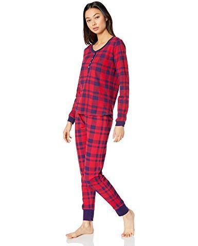 Monroe /& Main Aqua 2-Piece Thermal Kitties Set Lounge wear Pajama Set S Small