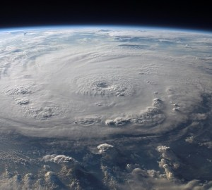 An image of a hurricane from the perspective of space