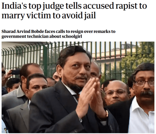"""The image reads """"India's top judge tells accused rapist to marry victim to avoid jail"""" to back up the text written above."""