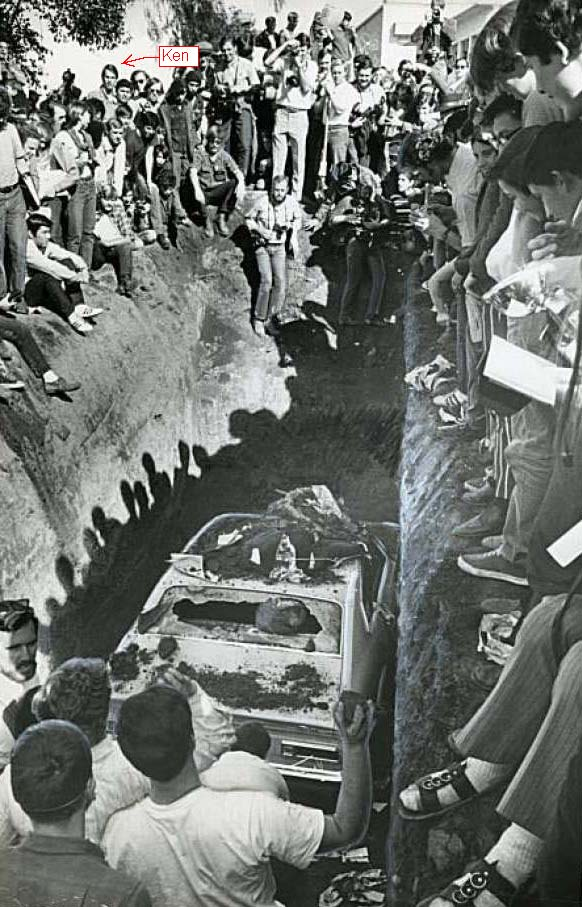San Jose State College students bury a new car 2/20/1970