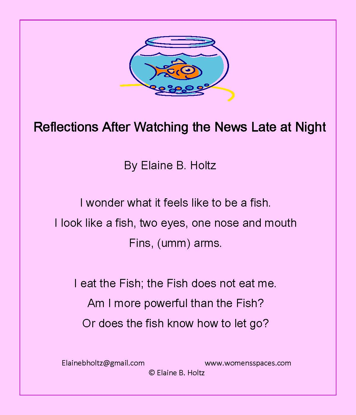 Reflections After Watching the News Late at Night  by Elaine B. Holtz