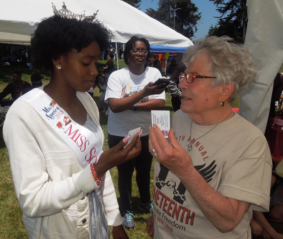 Miss Sonoma County Tyler-Avery Lewis with Elaine B. Holtz as she takes the Women's Spaces Pledge