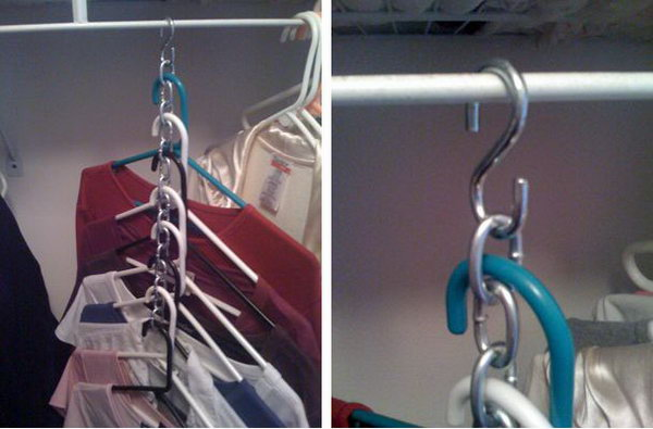 S-hooks let you put up many garments in less space