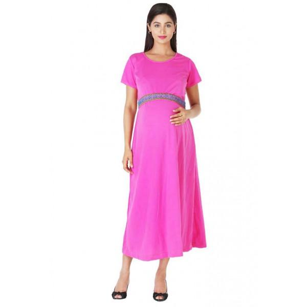 Fuchsia pink maternity dress