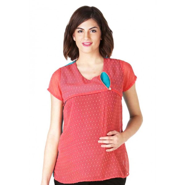 orange and blue nursing top