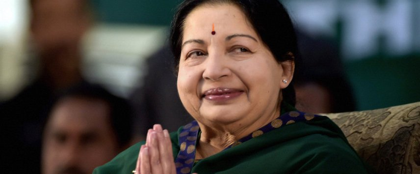 AIADMK leader Jayaram Jayalalitha greets the audience during her swearing-in-ceremony as the Chief Minister of Tamil Nadu state in Chennai, India, Saturday, May 23, 2015. An appeals court acquitted the powerful politician in southern India of corruption charges earlier this month, clearing the way for her to return to public office. She was forced last year to step down as the highest elected official in Tamil Nadu after a Bangalore court in September convicted her of possessing wealth disproportionate to her income and sentenced her to four years in prison. (R. Senthil Kumar/ Press Trust of India via AP)