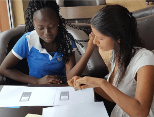 Author walks through design options with a Diamond bank client