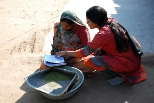 An Indian microfinance client reviewing paperwork
