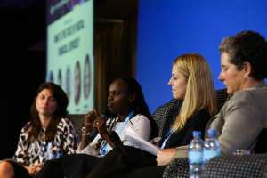 (L-R) Moderator Diana Gooley (Women's World Banking), Adrine Muhura (GSMA), Marie Kyle (Bima) and Liz Kellison (The Bill and Melinda Gates Foundation)