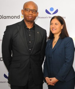 Uzoma Dozie and Mary Ellen Iskenderian in Lagos for the Diamond Y'ello Launch (2017).