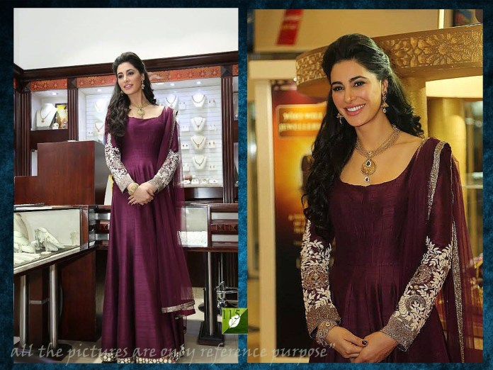 Nuetral shade with maroon long frock