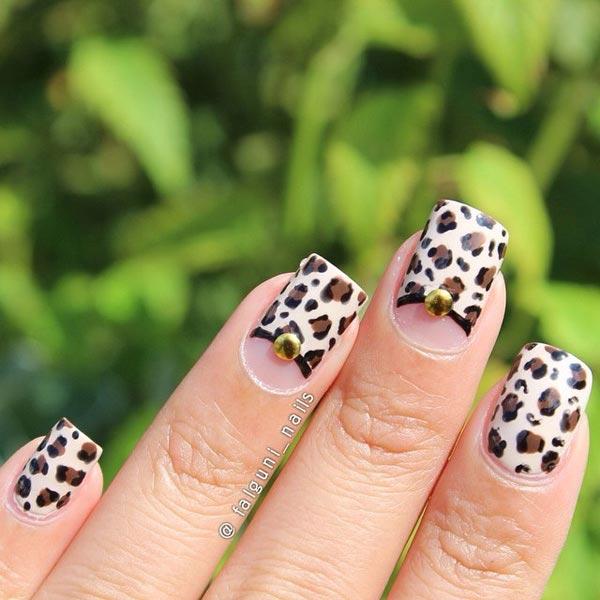 Leopard Nail Art On Shade