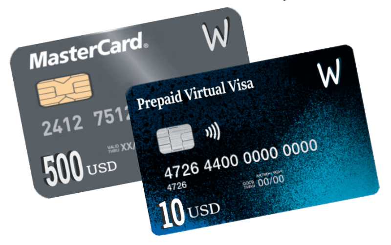 Visa virtual prepaid cards start from 10$ to 500$