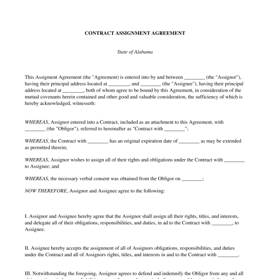 Contract Assignment Agreement