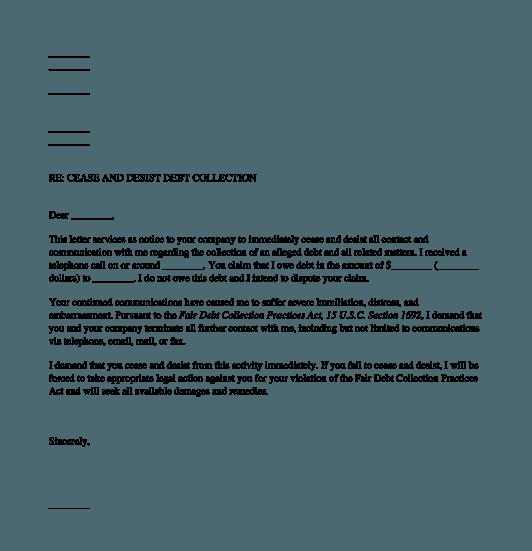 Debt Collection Cease Desist Letter