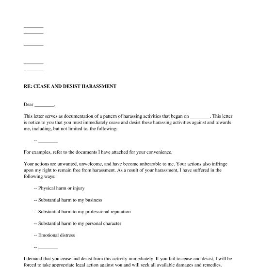 Cease And Desist Harassment Letter Template Pdf