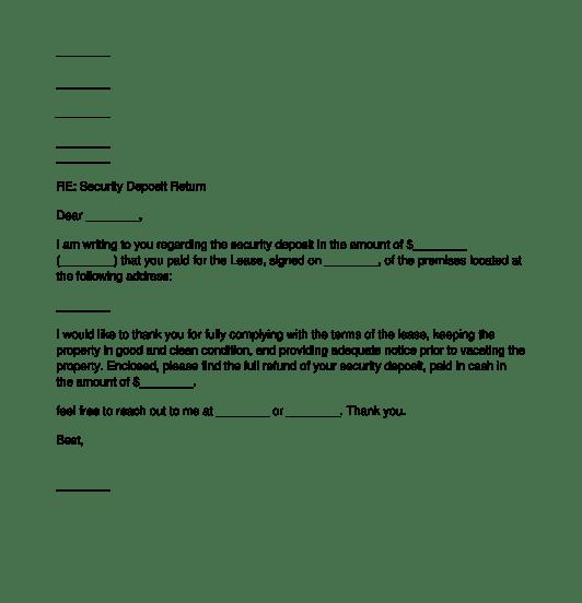 letter to tenant regarding security deposit tenant security deposit return letter