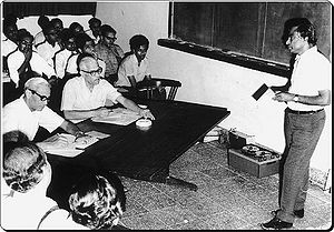 Abdul Kalam teaching Scientist at ISRO 1980