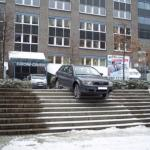 car on big stairs