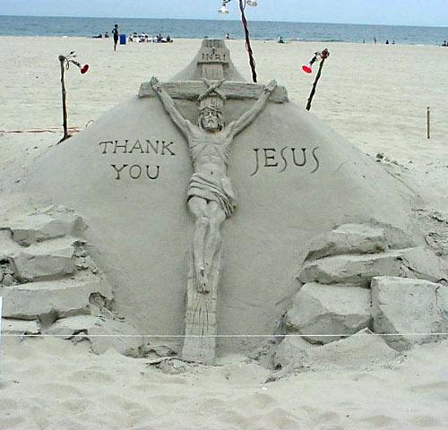 sand sculpture - Jesus