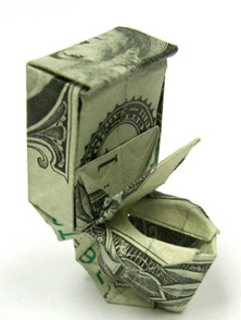 Money Origami - One Dollar Toilet Bowl