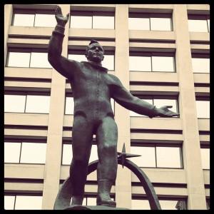 Yuri Gagarin statue in London near Admiralty Arch
