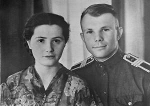 Yuri Gagarin with wife