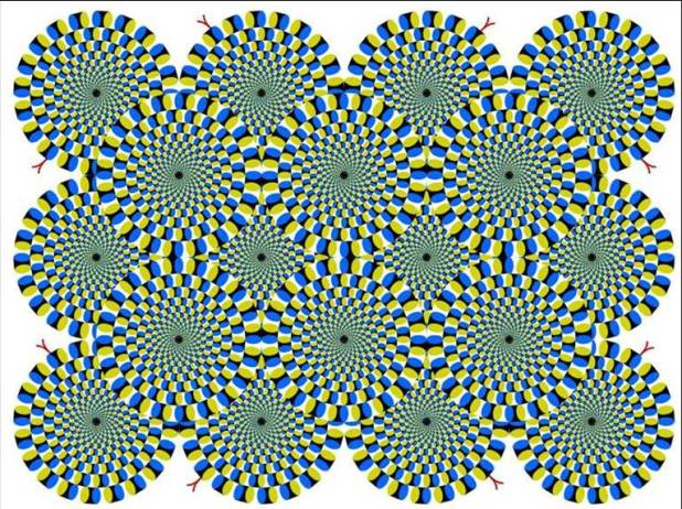 Optical illusion - Which are rotating?