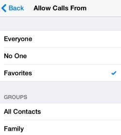 Do Not Disturb Allow Calls From