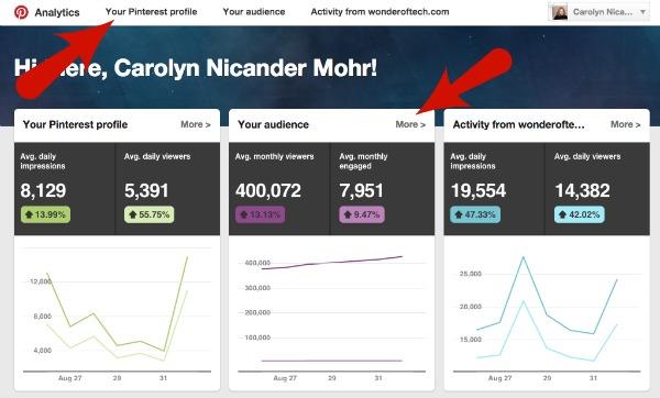 Pinterest Analytics Menu