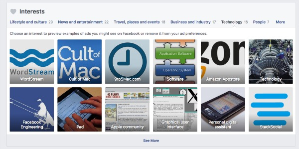 Categories of Facebook Interests