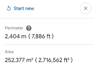 Google Earth Results Distance and Area Measured