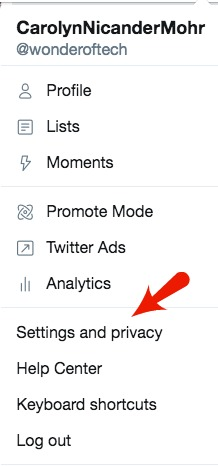 Twitter Settings and Privacy