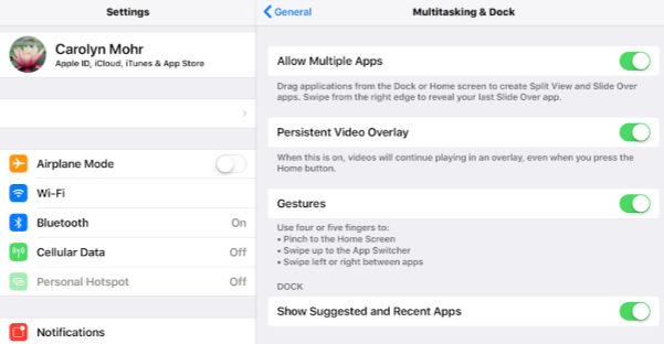 Multi-tasking iPad Settings