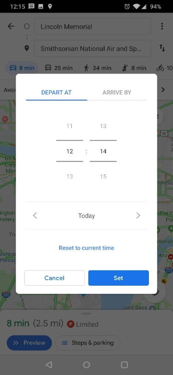 Google Maps App Android Future Time