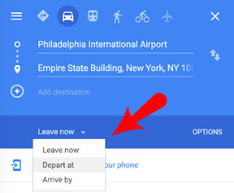 Google Maps Website Depart At