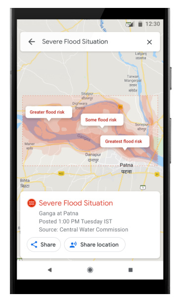 Google Maps Flood Warnings