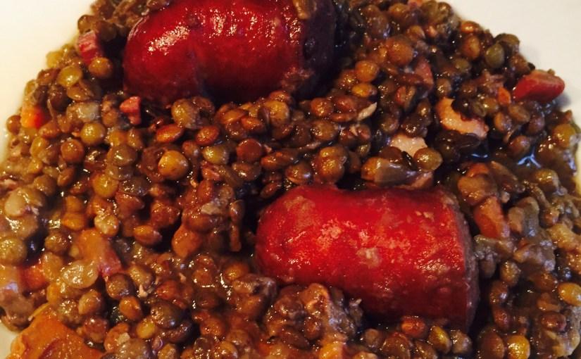 Lentilles aux saucisses de Montbéliard au Cookéo