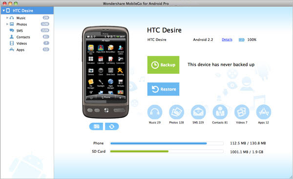 Wondershare MobileGo for Android Pro for mac