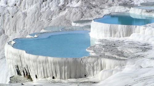 Natural Rock Pool in Pamukkale, Turkey