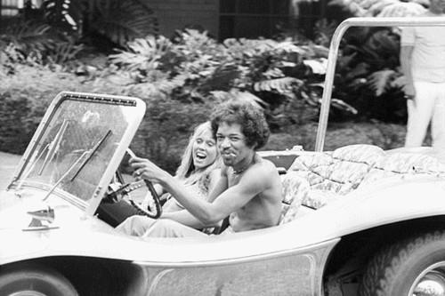 Jimi Hendrix Driving Dune Buggy