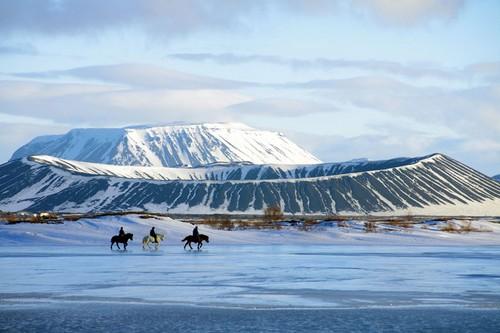 frozen Myvatn Lake