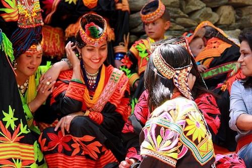 Beautiful Kalash women traditional clothing