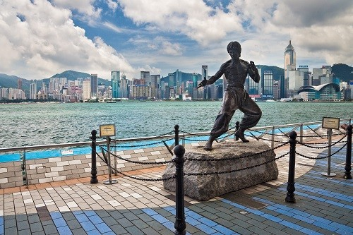 Bruce Lee's statue in Hong Kong
