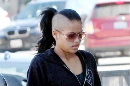 Cassie's shaved head