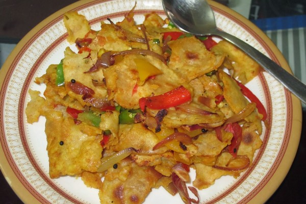 Roti upma dish prepared with leftover food